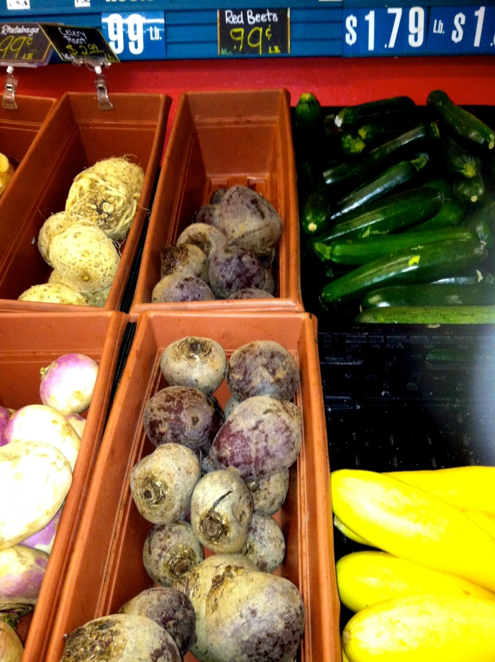 my favorite section: zucchini, yellow squash + BEETS!