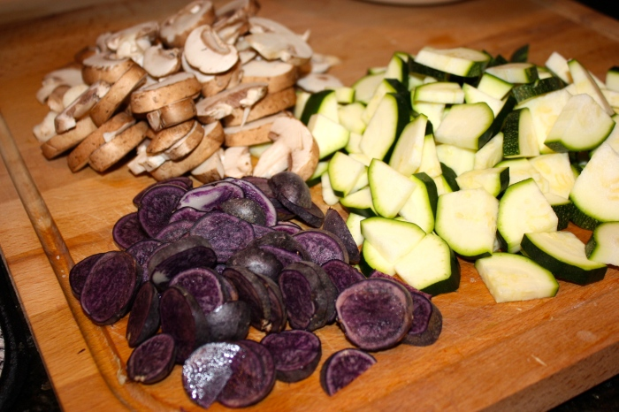 purple potatoes, zucchini, sliced bella mushrooms
