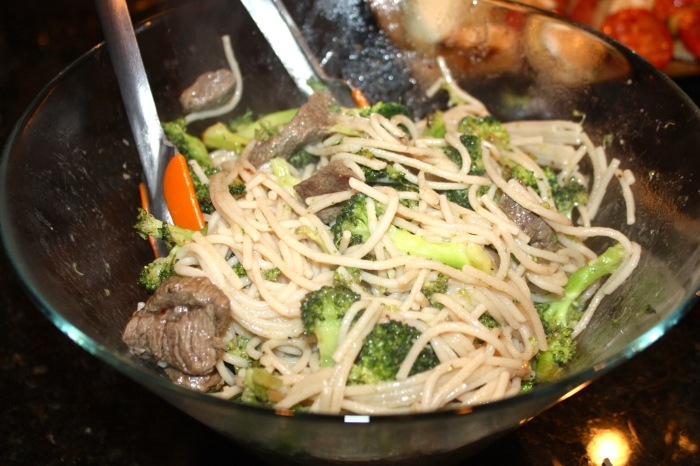 steak broccoli mushroom pasta