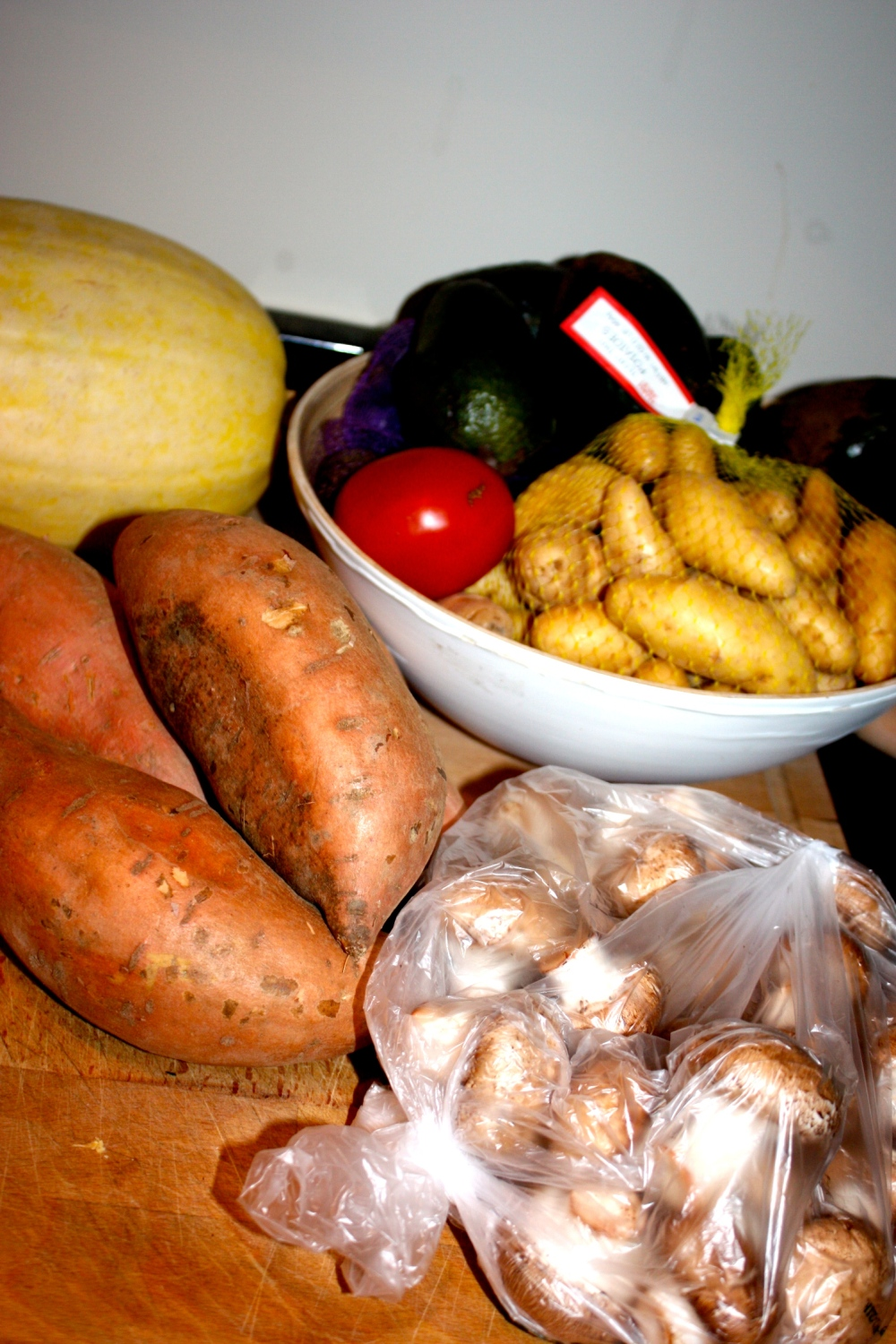 sweet potatoes, fingerling potatoes, 6 avocados, bella mushrooms