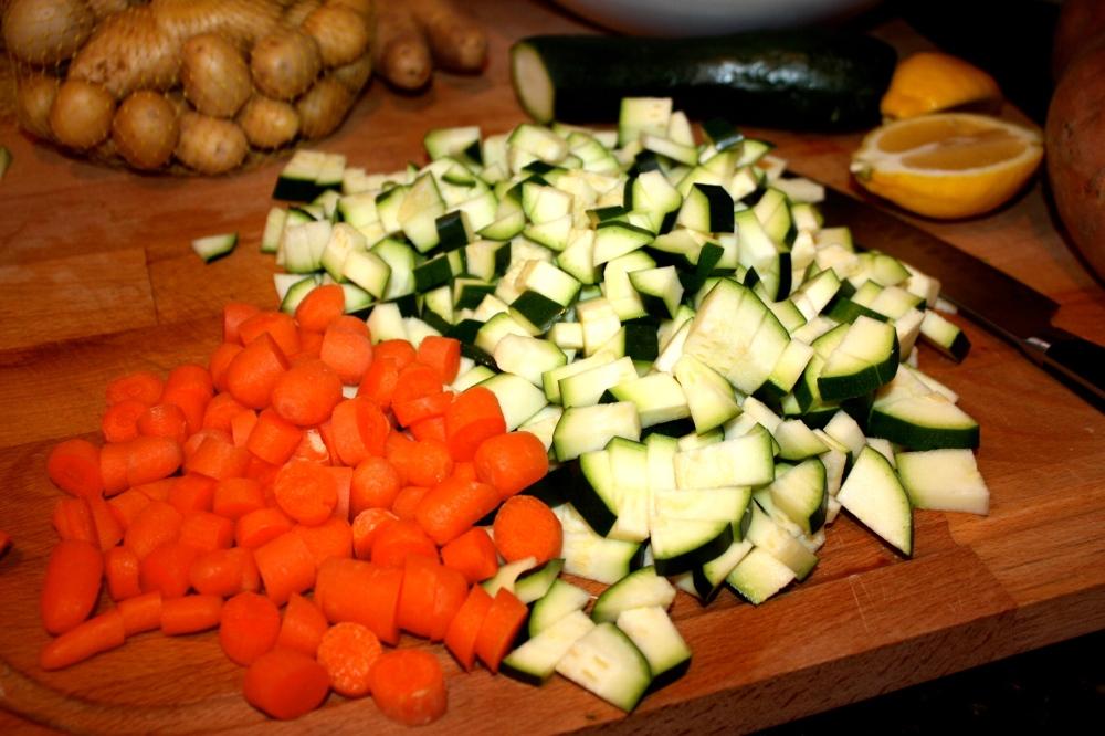 diced zucchini + carrots