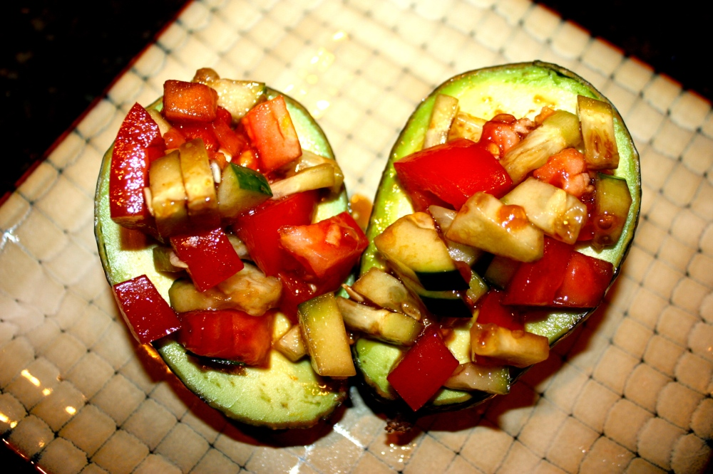 avocado packed w/tomato + cucumber salsa