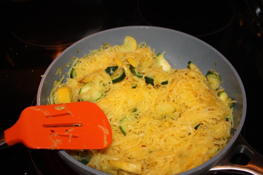 spaghetti squash in coconut oil w/zucchini & yellow squash