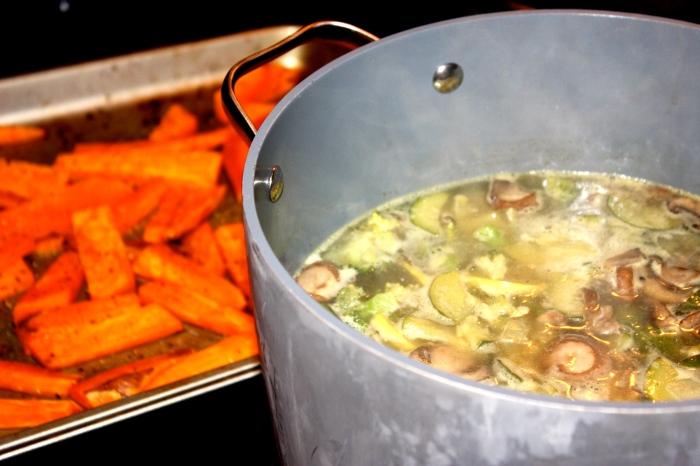 fuel sweat grow - sick day soup & sweet potatoes