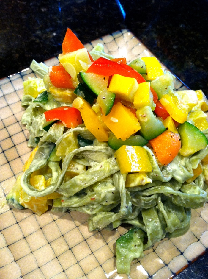 fuel sweat grow: spinach fettuccine primavera
