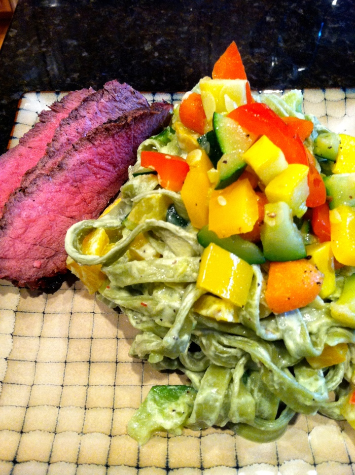 fuel sweat grow: fettuccine primavera and steak
