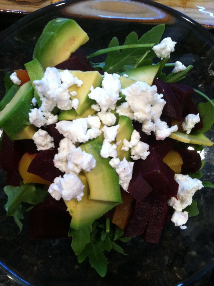 beets + greens w/caromont goat cheese