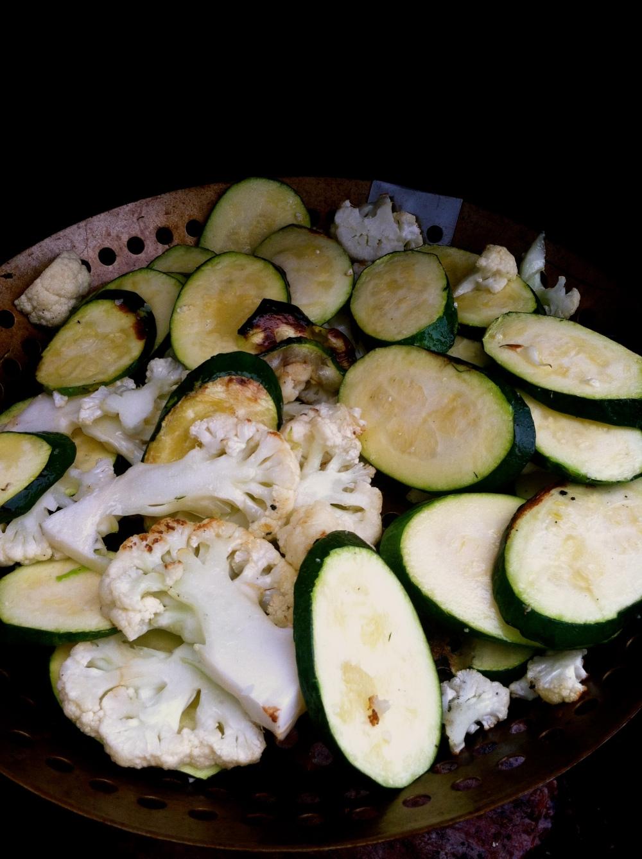 grilled zucchini + cauliflower