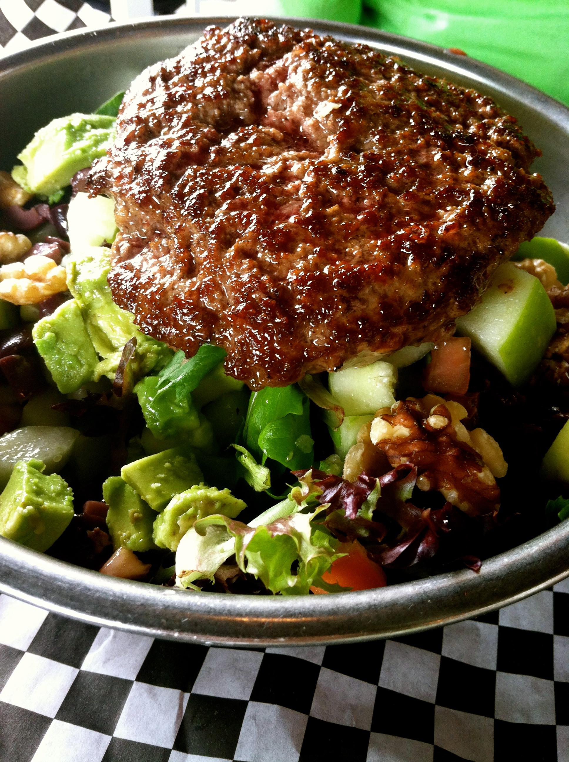 bad daddy's big salad CYO with a burger