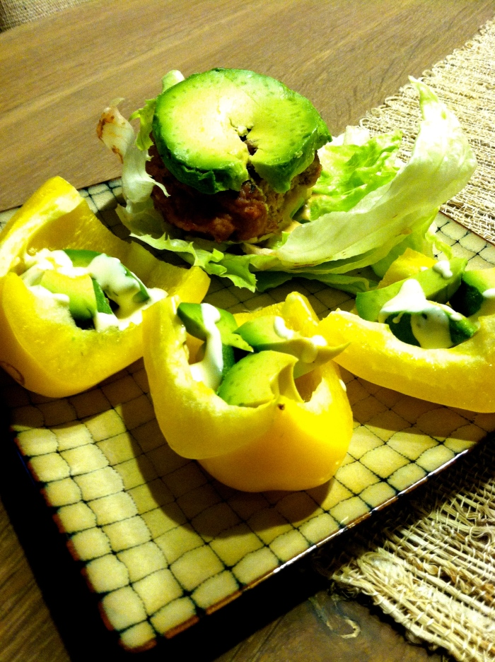 avocado boats and turkey burger