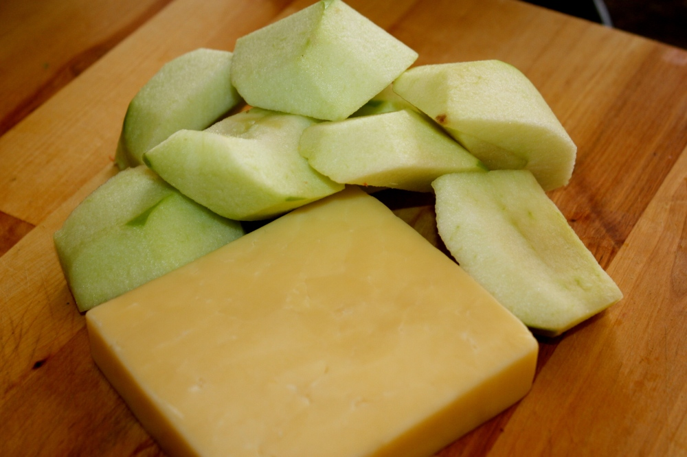 the makings for grilled apple-cheeses
