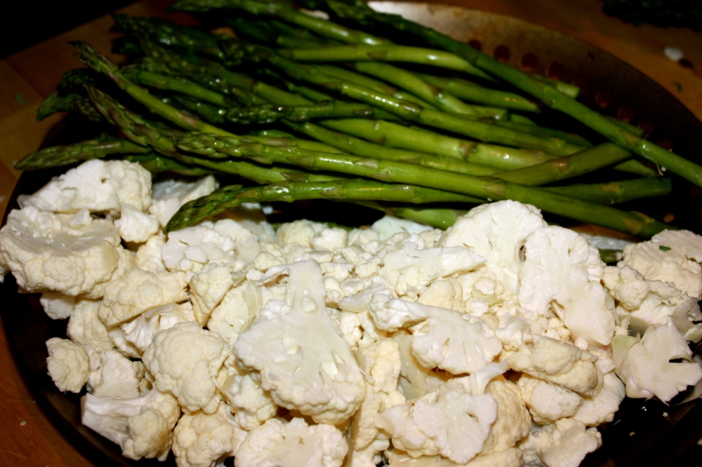 Fuel sweat grow: cauliflower + asparagus