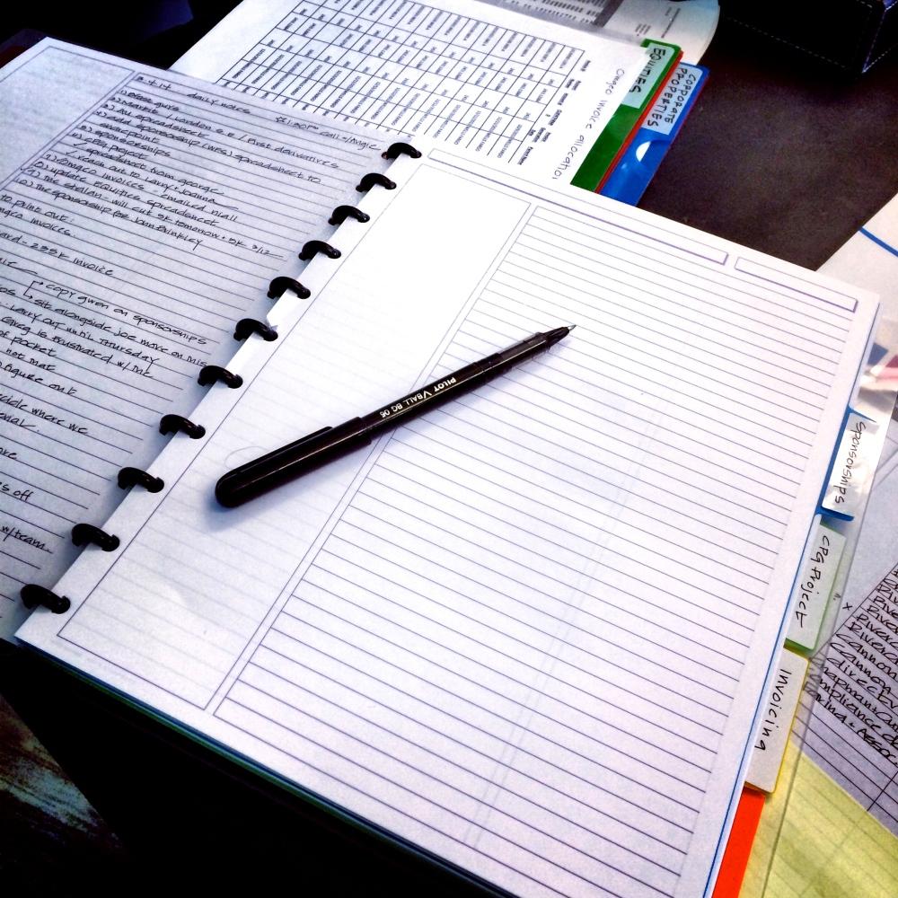 fuel sweat grow: notebook organization levenger