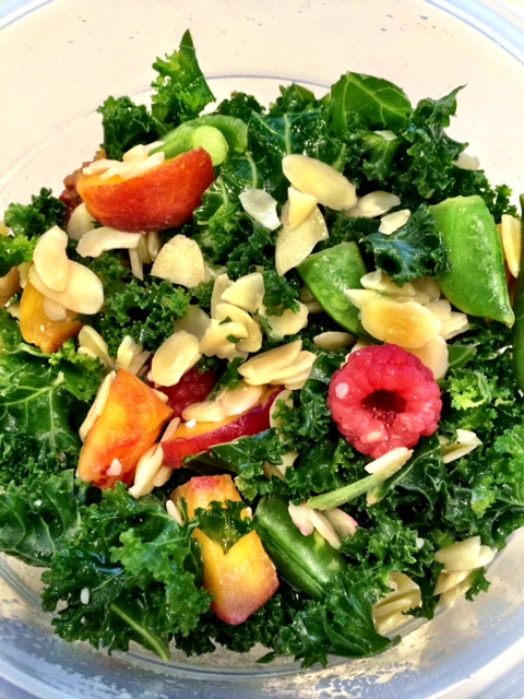 fuel sweat grow: kale summer fruit salad