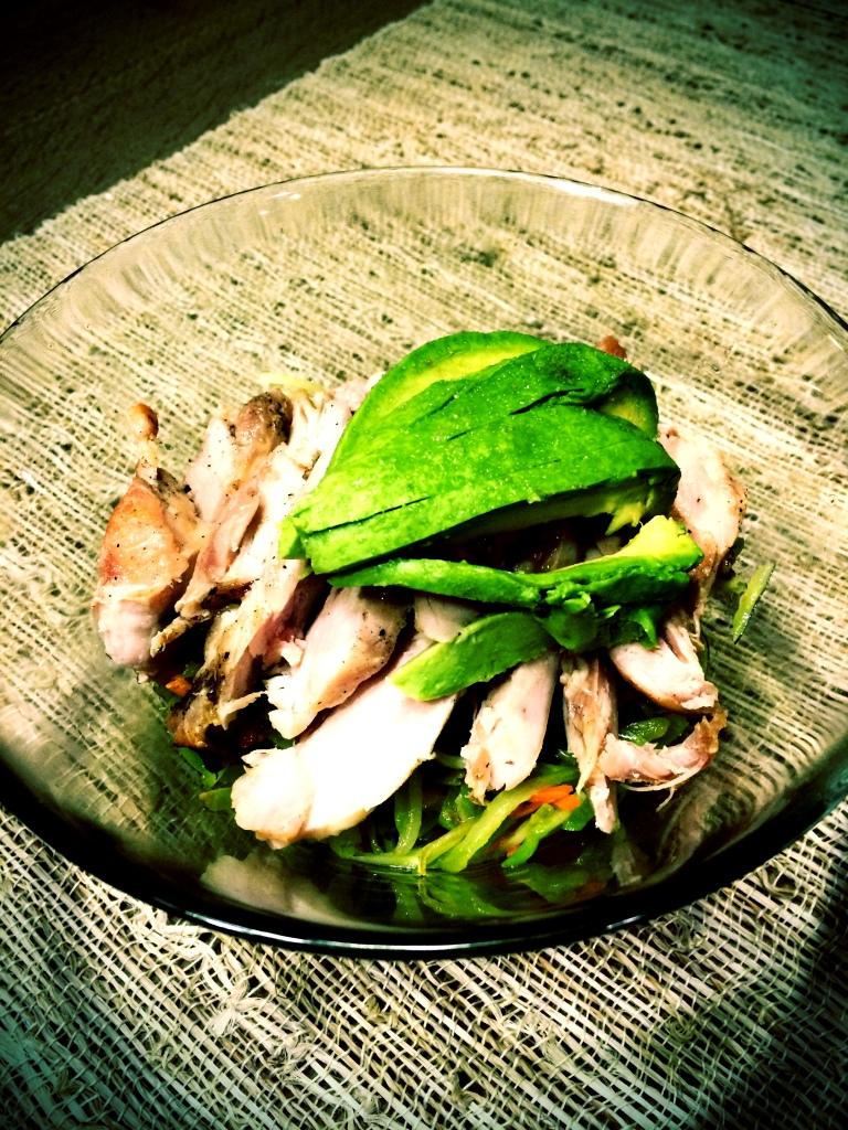 fuel sweat grow: broccoli slaw, chicken, avocado