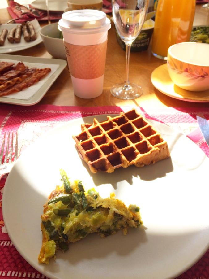 [grain free paleo pumpkin waffles, egg + asparagus fritata, bacon, coffee....brunch perfection]