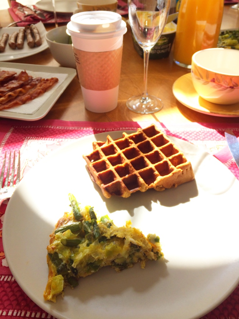 [grain free paleo pumpkin waffles, egg + asparagus fritata, bacon, coffee....brunch perfection]