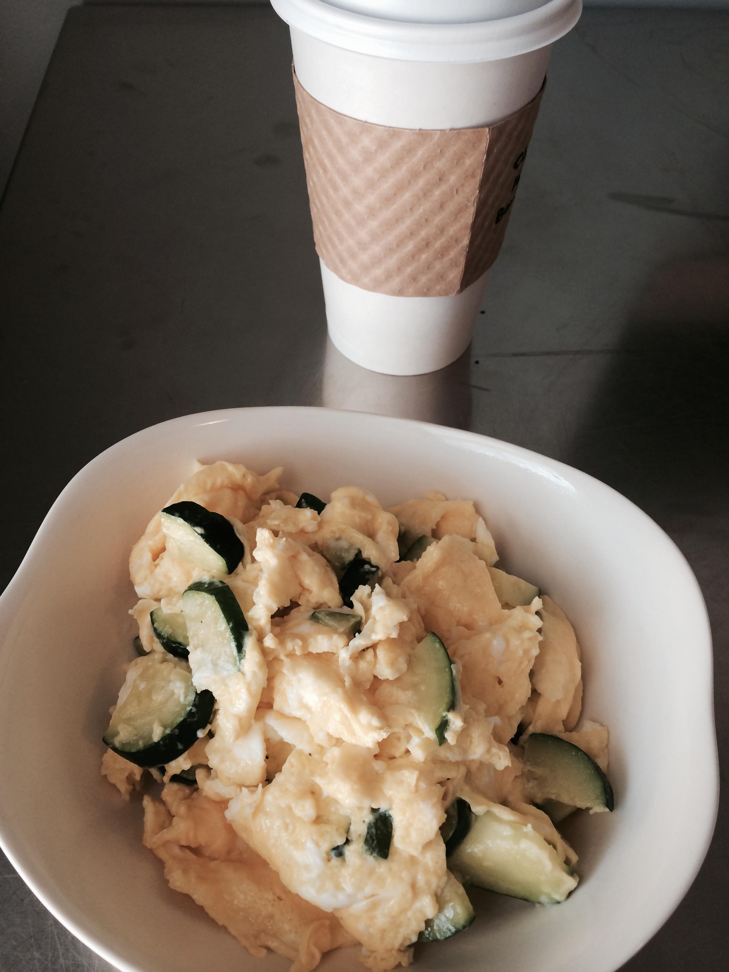 fuel sweat grow: zucchini eggs and almond milk latte