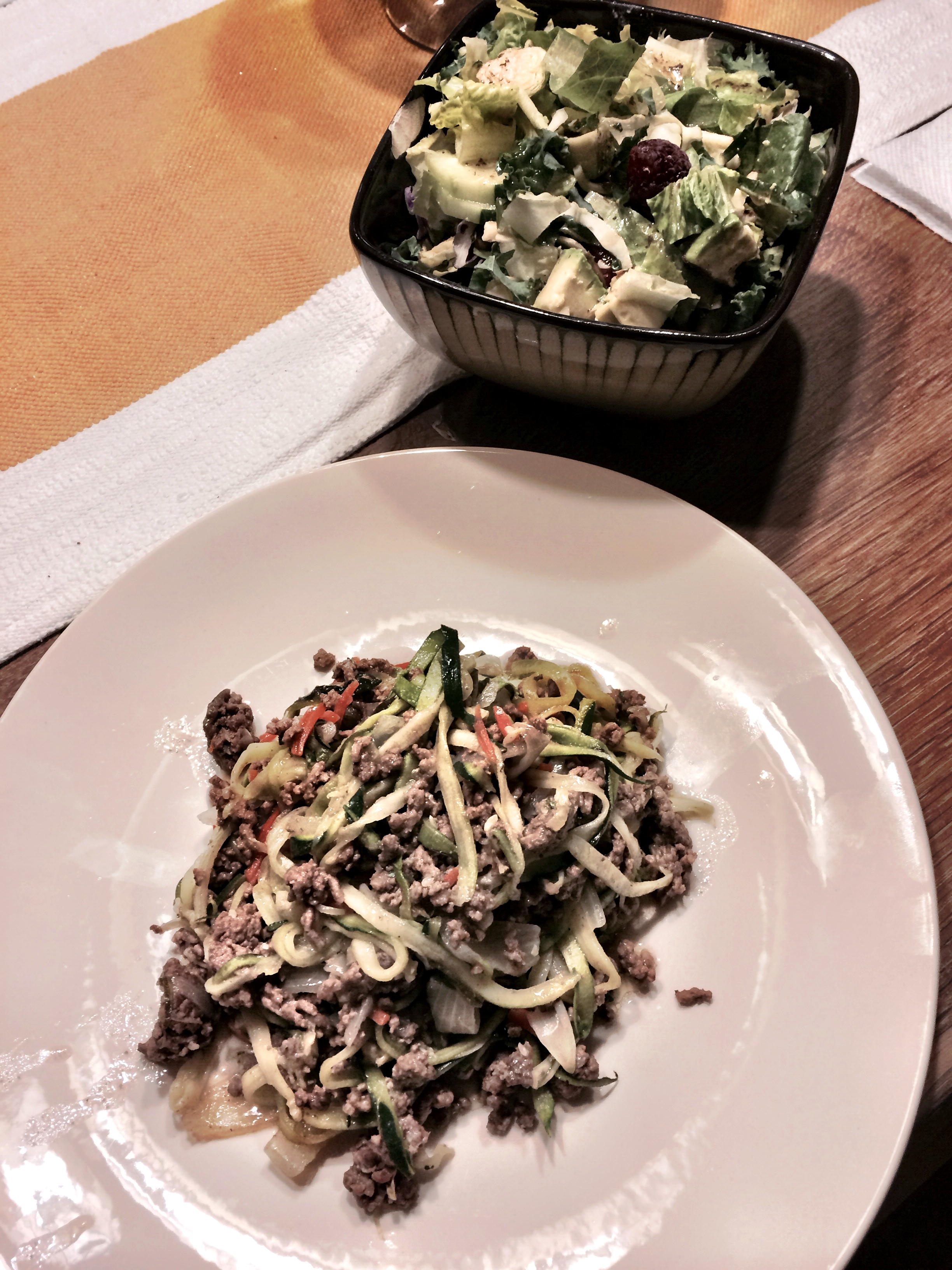 fuel sweat grow: beef zoodles and