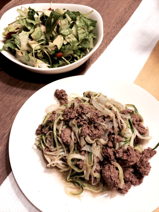fuel sweat grow: micro green salad and ground beef zoodles