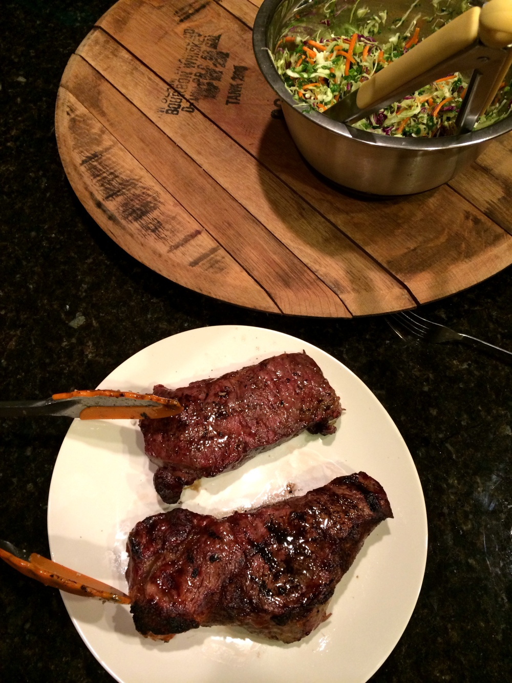 fuel sweat grow: steak / salad