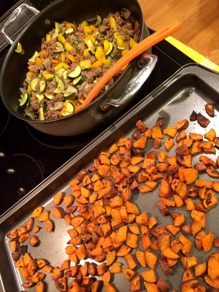 fuel sweat grow: ground beef and roasted sweet potatoes